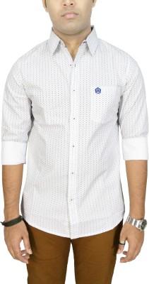 Southbay Men's Printed, Geometric Print Casual, Party, Lounge Wear White Shirt