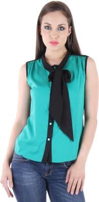 BONHEUR Women's Solid Casual Green, Green Shirt