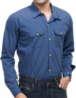 4 Stripes Men's Solid Casual Blue Shirt