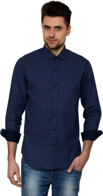 See Designs Men,s Printed Casual Reversible Blue Shirt
