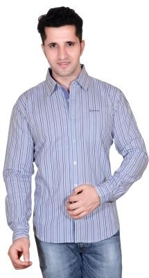 Denimize Men's Striped Casual Beige Shirt