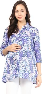 Mine4Nine Women's Floral Print Casual Purple Shirt