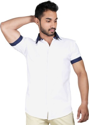 Just Differ Men's Solid Casual White, Dark Blue Shirt