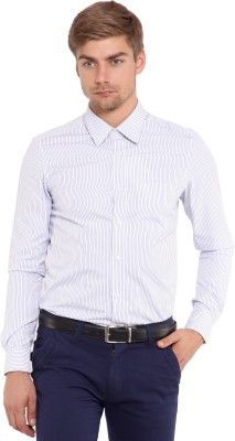 Classic Polo Men's Striped Formal White Shirt