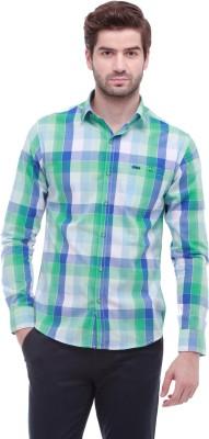 Jogur Men's Checkered Casual Green Shirt