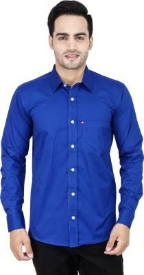LEAF Men's Solid Formal Blue Shirt