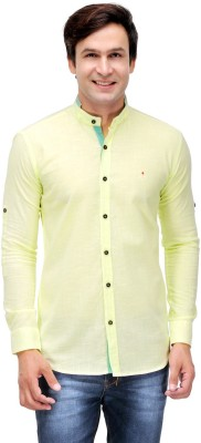 Finder Zone Men's Solid Casual Linen Yellow Shirt