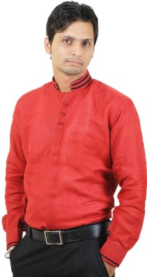 SIERA Men's Printed Casual Linen Red Shirt