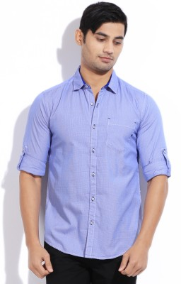 The Indian Garage Co. Men,s Checkered Casual Blue Shirt