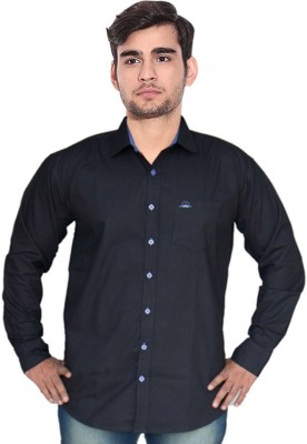 7 Buttons Men's Solid Casual Black Shirt