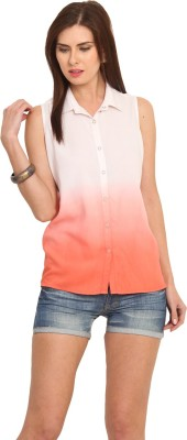 Leo Sansini Women's Solid Casual White, Pink Shirt