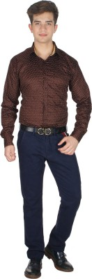 Shaurya-F Men's Printed Formal Brown Shirt