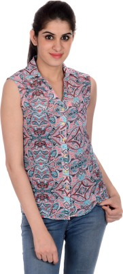House of Tantrums Women's Printed Casual Red Shirt