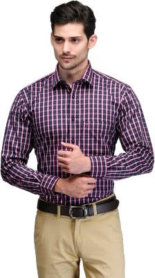 Club Morocco Men's Checkered Formal Pink Shirt