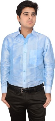 Excellency Men's Solid Casual Blue Shirt
