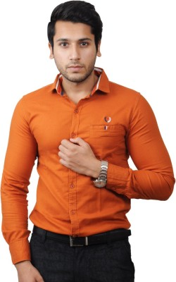 Flakes Fashion Men's Solid Casual Orange Shirt