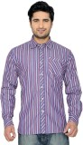 Thinc Men's Striped Casual Red Shirt