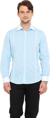 Western Vivid Men's Solid Casual Blue, White Shirt