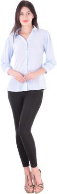 cutemad Women's Solid Formal Light Blue Shirt