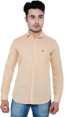 GreyBooze Men's Solid Casual Linen Beige Shirt