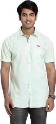 High Hill Men's Solid Casual Green Shirt