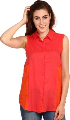 Miss Chick Women's Solid Casual Red Shirt