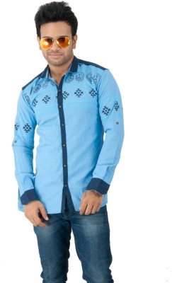 Zed One Men's Printed Casual Blue Shirt