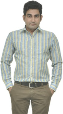 Benzoni Men's Striped Formal Linen Yellow, Blue Shirt
