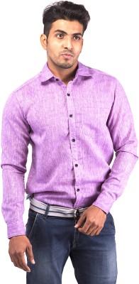 Indian Weller Men's Solid Casual Linen Purple Shirt