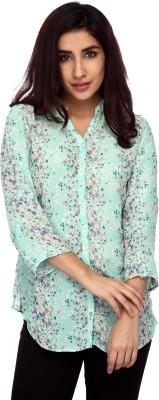 Lifestyle Retail Women's Floral Print Casual Light Green Shirt