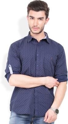 Bay Ridge Men's Printed Casual Dark Blue Shirt