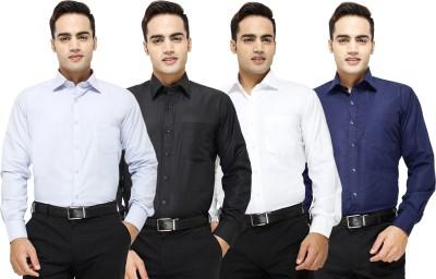 Yuva Men's Solid Formal Light Blue, Black, White, Dark Blue Shirt