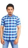 Success Men's Checkered Casual Linen Blu...