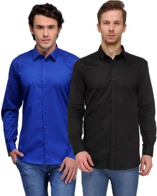 Feed Up Men's Solid Casual Blue, Black Shirt