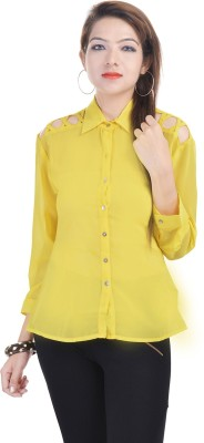 Fantasy Ika Women's Self Design Casual Yellow Shirt