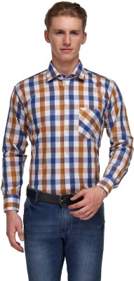 Ausy Men's Checkered Casual Blue, Brown Shirt
