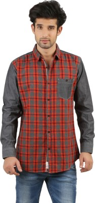 RED SPARROW Men's Checkered Casual Red, Grey Shirt