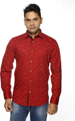 ALBI NYC Men's Printed Casual Red Shirt