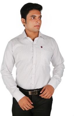 Relish Men's Checkered Formal White, Green Shirt