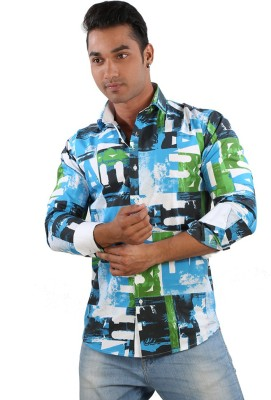 Just Differ Men's Graphic Print Casual Multicolor Shirt