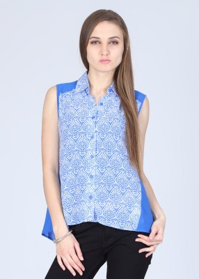 Remanika Women,s Printed Casual White, Blue Shirt