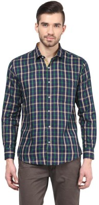 The Vanca Men's Checkered Casual Green Shirt