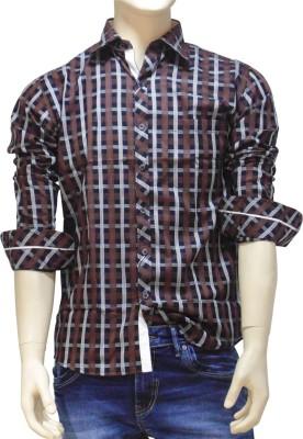 EXIN Fashion Men's Checkered Casual Black, Brown Shirt