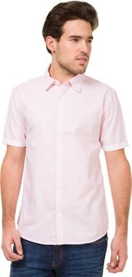 Mode Manor Men's Striped Casual Pink Shirt