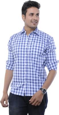 Adhaans Men's Checkered Formal Blue, White Shirt