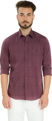 Club X Men's Striped, Self Design Casual Maroon Shirt
