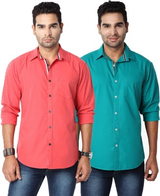 Suspense Men's Solid Casual Red, Green Shirt
