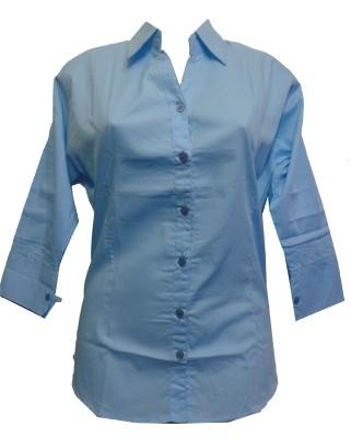 fashion point Women's Solid Formal Light Blue Shirt