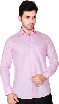 Fabrobe Men's Self Design Formal Pink Shirt