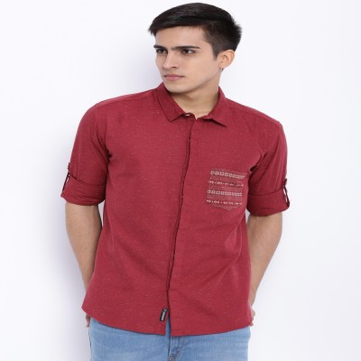 Le Bison Men's Solid Casual Maroon Shirt